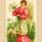 Easter Greetings-Angel and Lamb by Yesteryears