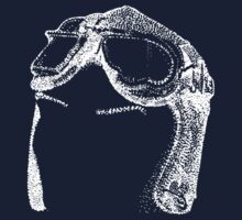 Dotwork Retro Aviator Goggles White! One Piece - Long Sleeve