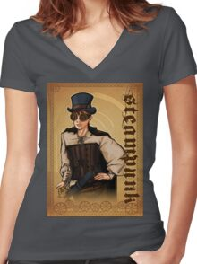 Steampunk Lady Women's Fitted V-Neck T-Shirt