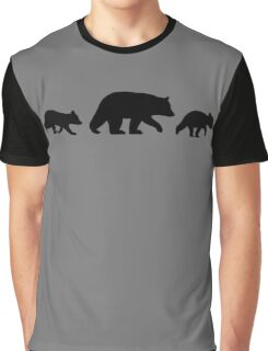 Black Bear with Cubs Graphic T-Shirt