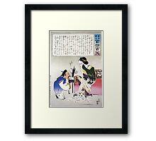 Humorous picture showing a Chinese man kneeling speaking to a woman sitting on a sofa crying profusely 001 Framed Print