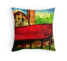 The old homestead, watercolor Throw Pillow