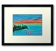 Coming in for a landing, series, watercolor Framed Print
