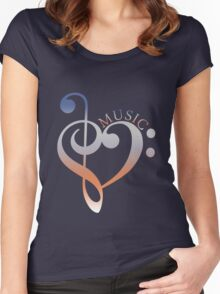 Music Expresses Clef Heart Girls funny nerd geek geeky Women's Fitted Scoop T-Shirt