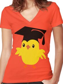 ღ°ټAdorable Nerd Chick on a Graduation Cap Clothing& Stickersټღ° Women's Fitted V-Neck T-Shirt