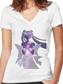 Princess Serenity - Purple Galaxy Women's Fitted V-Neck T-Shirt
