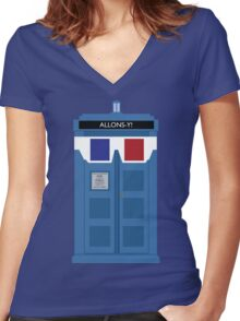Allons-y! Tardis Women's Fitted V-Neck T-Shirt