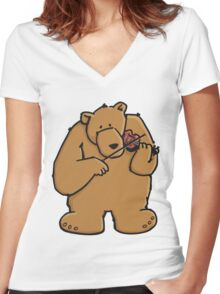 The bear plays violin Women's Fitted V-Neck T-Shirt