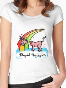 The stupid unicorn loses his head Women's Fitted Scoop T-Shirt