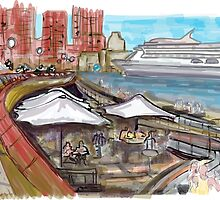 Sydney Opera House Cafe, looking out over Circular Quay. by Adriel Knowling