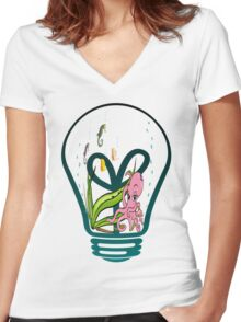 Sea Life Bulb2 Women's Fitted V-Neck T-Shirt