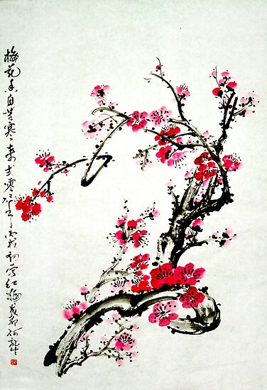 Chinese painting plum by skycn520