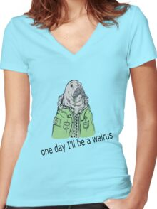 one day I'll be a walrus revamped Women's Fitted V-Neck T-Shirt