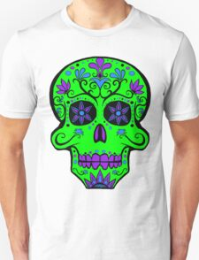 Day of the Dead  skull 1 green and purple T-Shirt