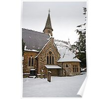 St Mary's Chuch Ide Hill Kent covered in snow Poster