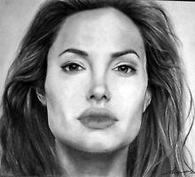Angelina Jolie Original Pencil Drawing by OnePortraitArt