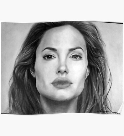 Angelina Jolie Original Pencil Drawing Poster