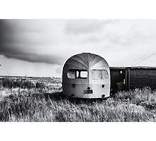 Old Winnebago left on beach Photographic Print