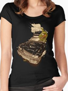 Dinosaur on a Cadillac Women's Fitted Scoop T-Shirt