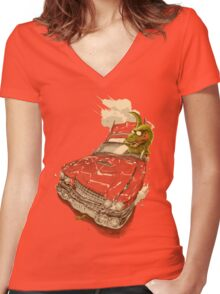 Dinosaur on a Cadillac Women's Fitted V-Neck T-Shirt