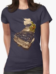 Dinosaur on a Cadillac Womens Fitted T-Shirt