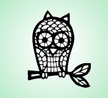 Lace Owl -  Black by JDBee