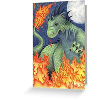 Blue Moon Fire Dragon Greeting Card