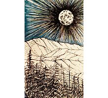 Smoky Mountain Moon - Ink Sketch Photographic Print