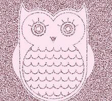 Cute  Pink Speckled Owl by kasseggs