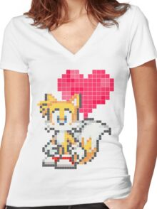 <3 Tails Women's Fitted V-Neck T-Shirt