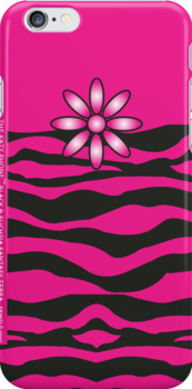 The Katy Phone / Black & Fuchsia Fantasy Zebra by Susan R. Wacker