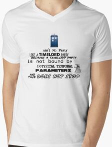 Time Lord Party Mens V-Neck T-Shirt