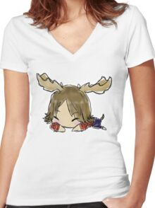 Supernatural: Moose Nap Women's Fitted V-Neck T-Shirt
