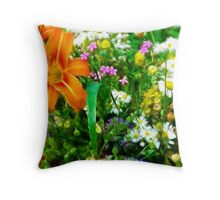 Fractalius Fun Flowers Throw Pillow