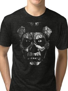 IN YOUR FACE - distressed white Tri-blend T-Shirt