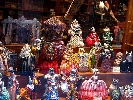 Window Display of Papier-mâché figures - Venice, Italy by Marilyn Harris