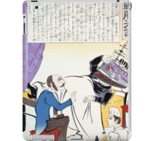 Russian doctor and nurse attending to a man with a Russian battleship for a head lying in bed 001 iPad Case/Skin
