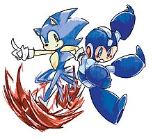 Sonic & Megaman Photographic Print