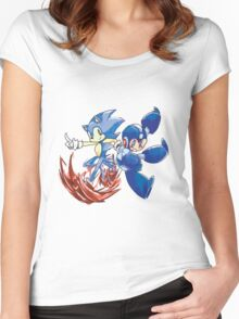 Sonic & Megaman Women's Fitted Scoop T-Shirt