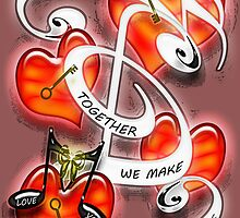 Together We Make Beautiful Music Poster by Terri Chandler