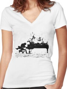 Piano Passion Women's Fitted V-Neck T-Shirt