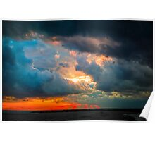 sunset through grey storm clouds  Poster