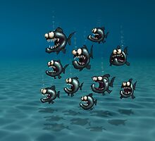 Shoal of Daft Piranha with old Duffer Fish by astralsid