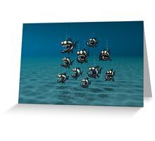 Shoal of Daft Piranha with old Duffer Fish Greeting Card