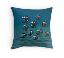 Shoal of Daft Piranha with old Duffer Fish Throw Pillow