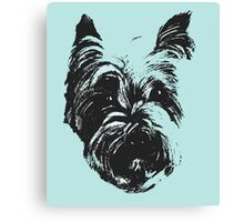 Westie Wonder Graphic ~ black and sea green Canvas Print
