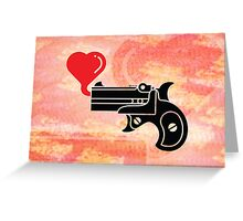 Pistol Blowing Heart Bubbles Greeting Card