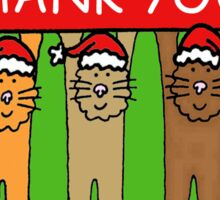 Thank you cats in Christmas hats. Sticker