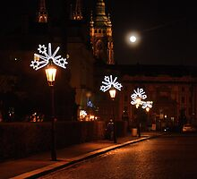 Prague street on a Christmas night. by dalekenworthy