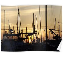 Sunset Through the Masts Poster